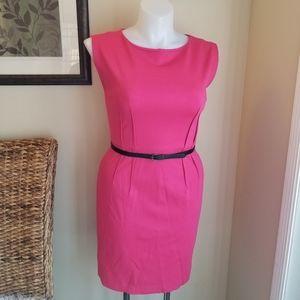 LOFT Ann Taylor Pink Belted Pencil Dress